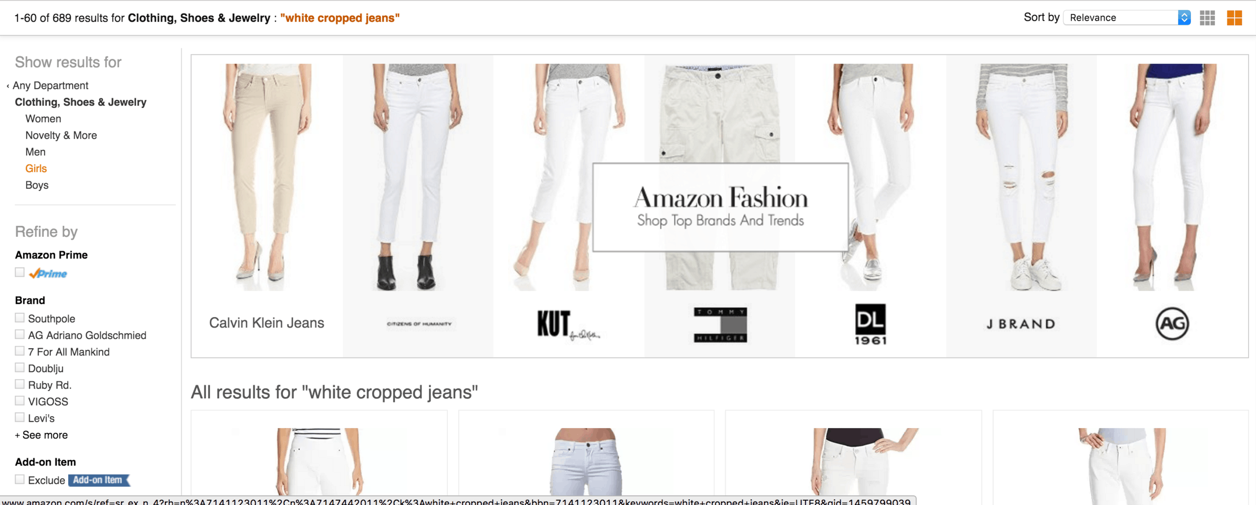 A screenshot of the Amazon search results screen for white cropped jeans.
