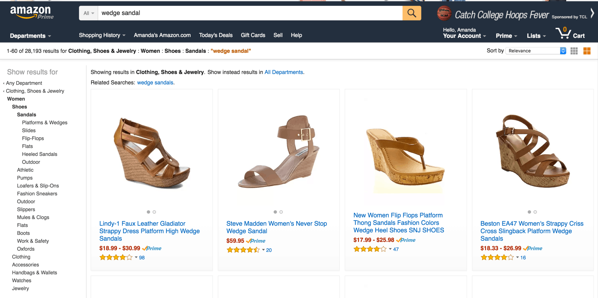 A screenshot of the Amazon search results screen for black booties.