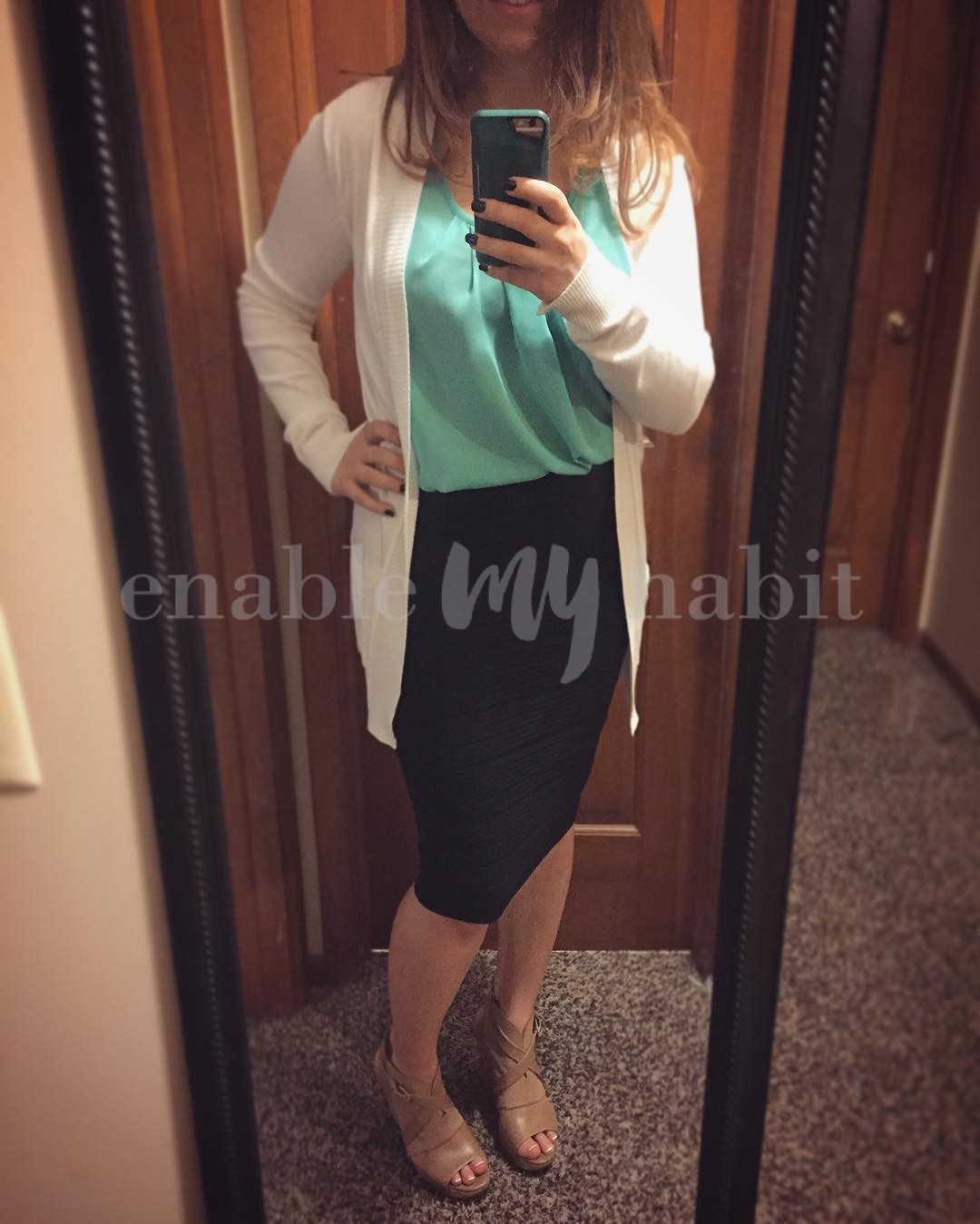 Another favorite outfit of mine, and everything is from boutiques via @veryjane except for the wedges! The Kendyl blouse in sleeveless and 3/4 sleeves are my faves for inexpensive staples for the office. And my Naya wedges go with so much
