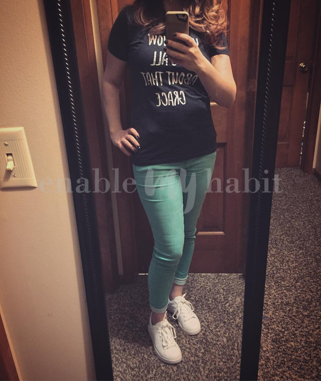 After only leaving the house to go to the office for over a week, I escaped to Walmart (found some cute graphic tees!) and downtown for the last night. Custom tee, @celebritypinkjeans skinnies that I flippin' LOVE, and @justfabonline sneakers