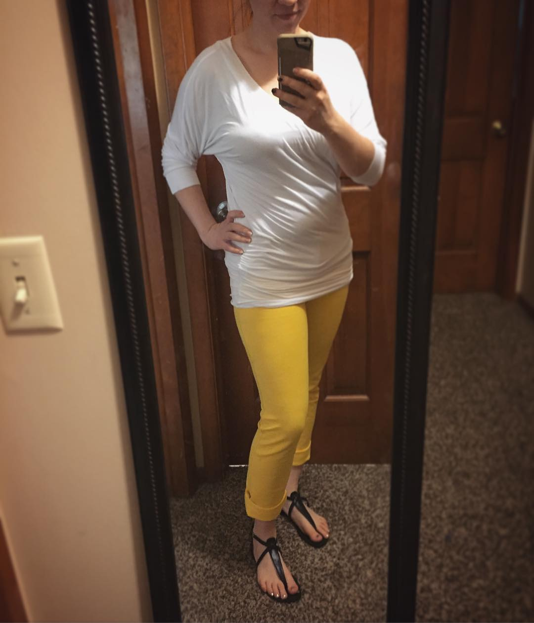 ...when the is but you only have one yellow item in your closet!! These pants are bright and sassy, y'all. Am I brave for wearing all this light clothing yesterday while home with little Bearman? Maybe a little bit. 😜Thanth Dolman from @amazon • jeggings from a boutique via @veryjane • sandals from @justfabonline