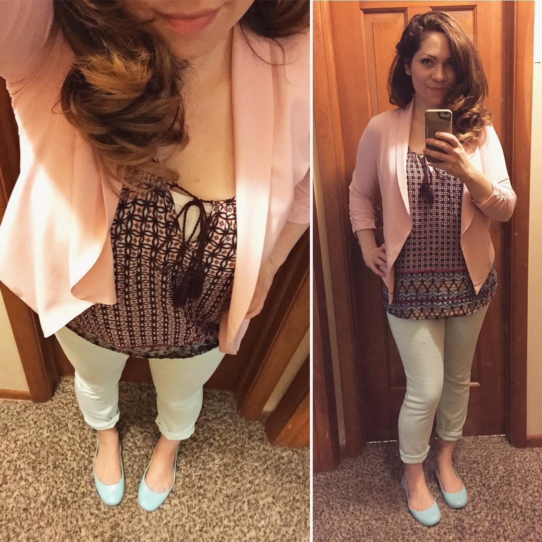 Blush Pink Blazer + Skinnies + Printed Top