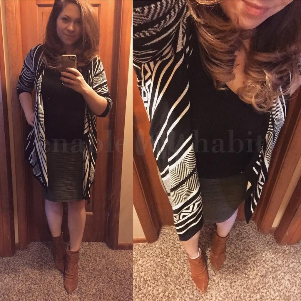 Pattern Open Sweater + Pencil Skirt + Booties