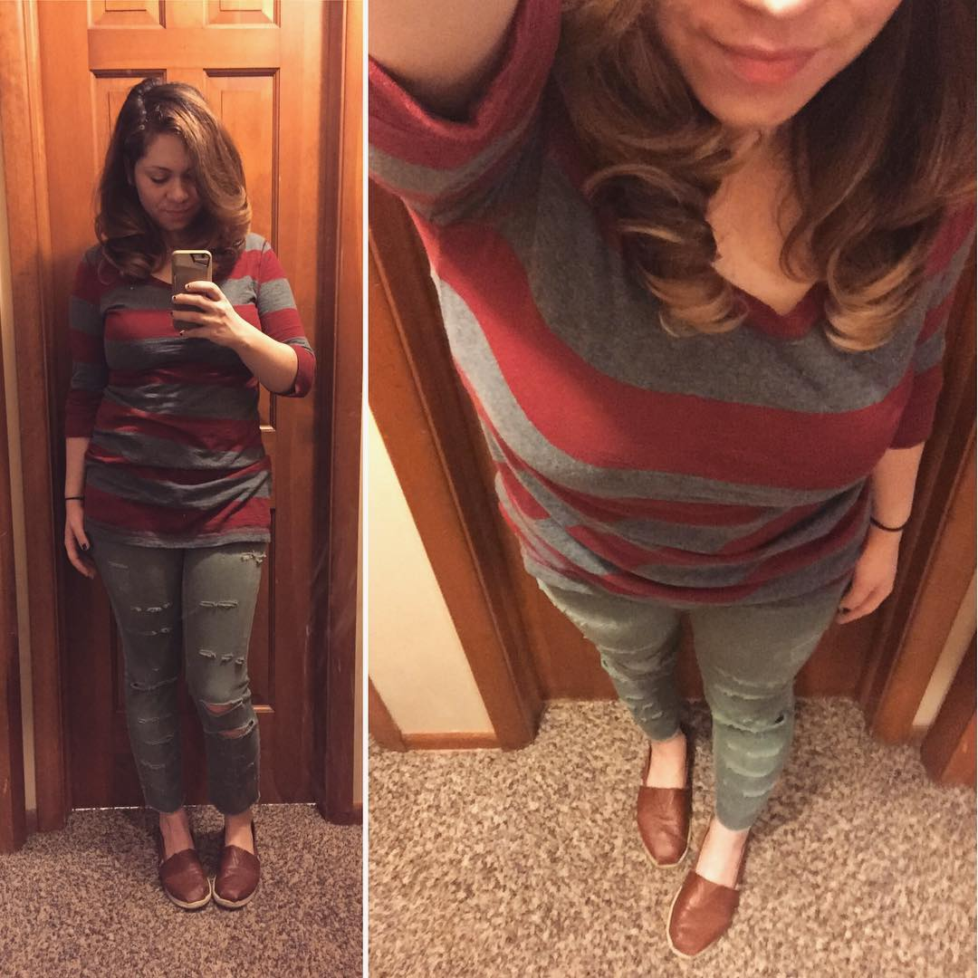 Burgundy + Gray + Olive Casual Outfit