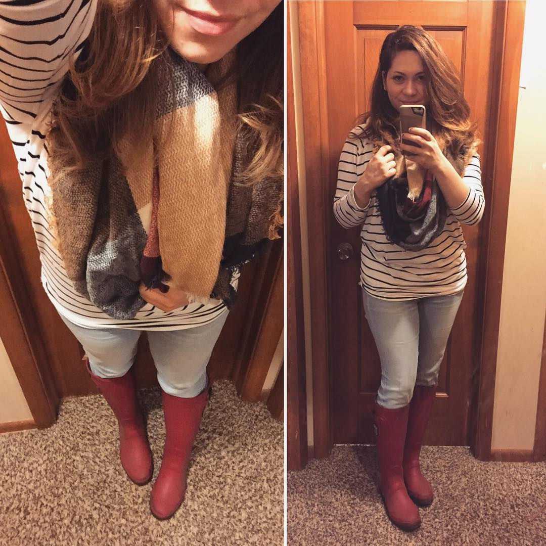 Rain Boots in the Fall + Stripes and a Scarf