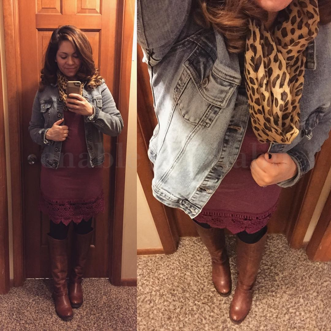 Plum Wine Lace Dress with Riding Boots