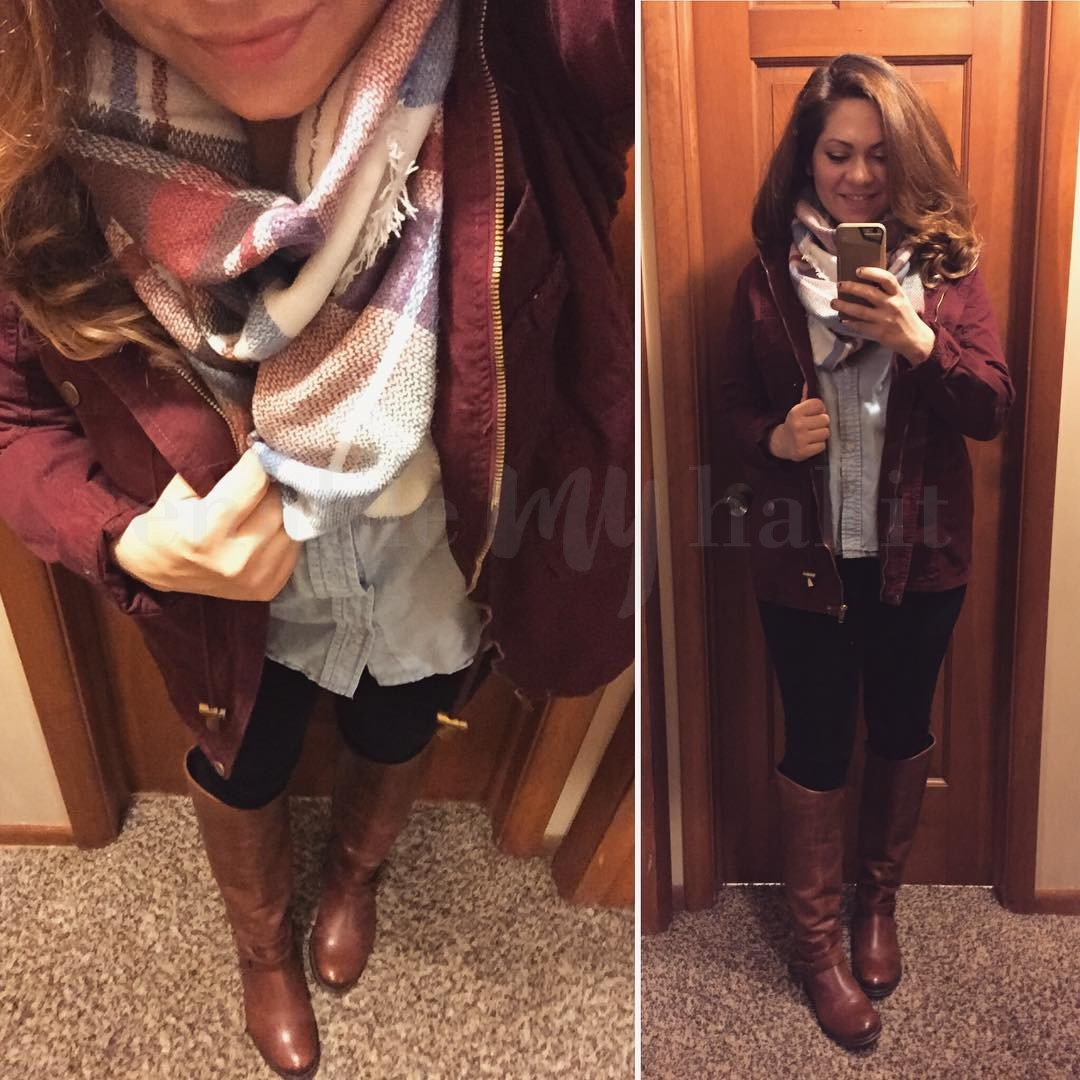 Perfect Fall Outfit: Blanket Scarf + Burgundy Anorak