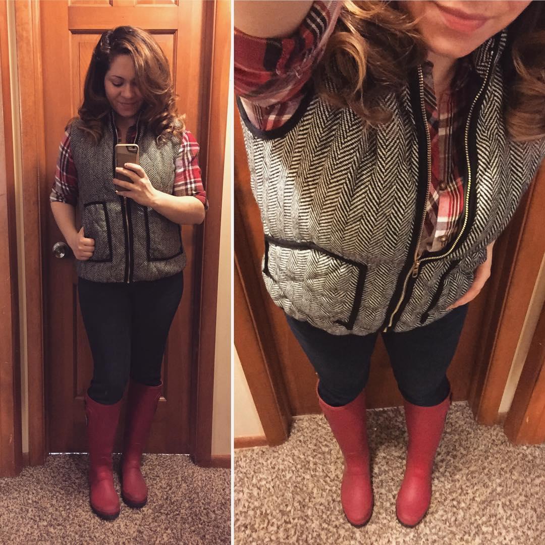Fall Style: Pumpkin Patch Plaid + Herringbone Vest