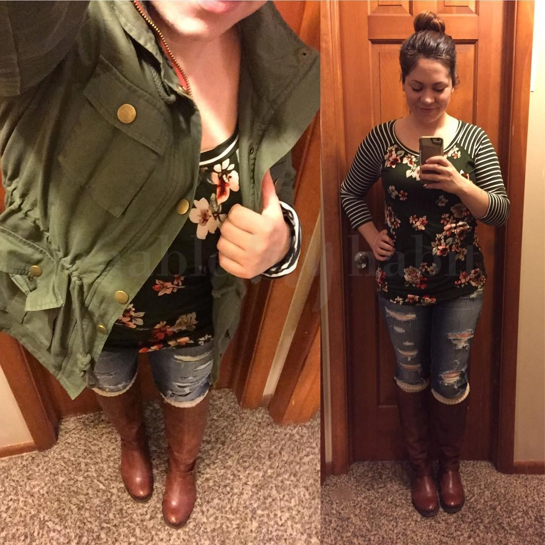 Fall Style: SHOPGLAMLA Stripes + Floral Top with Distressed Skinnies & Riding Boots