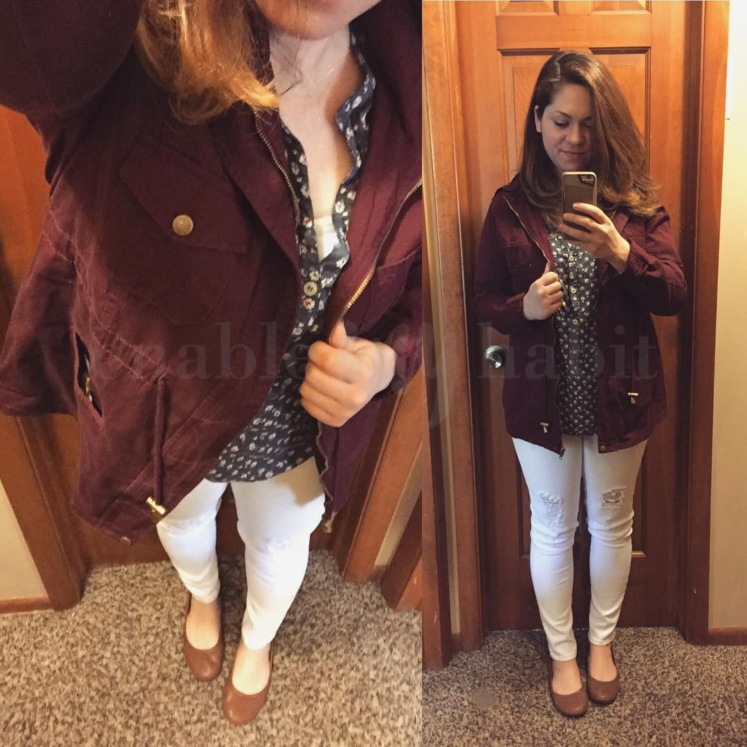 Fall Style: White After Labor Day + Burgundy Anorak