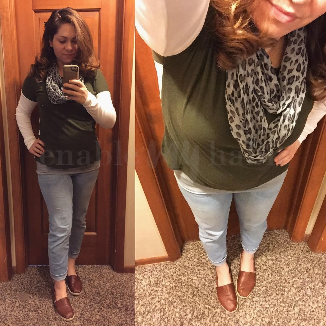 Fall Style: Olive Button-Back Top & Boyfriend Jeans