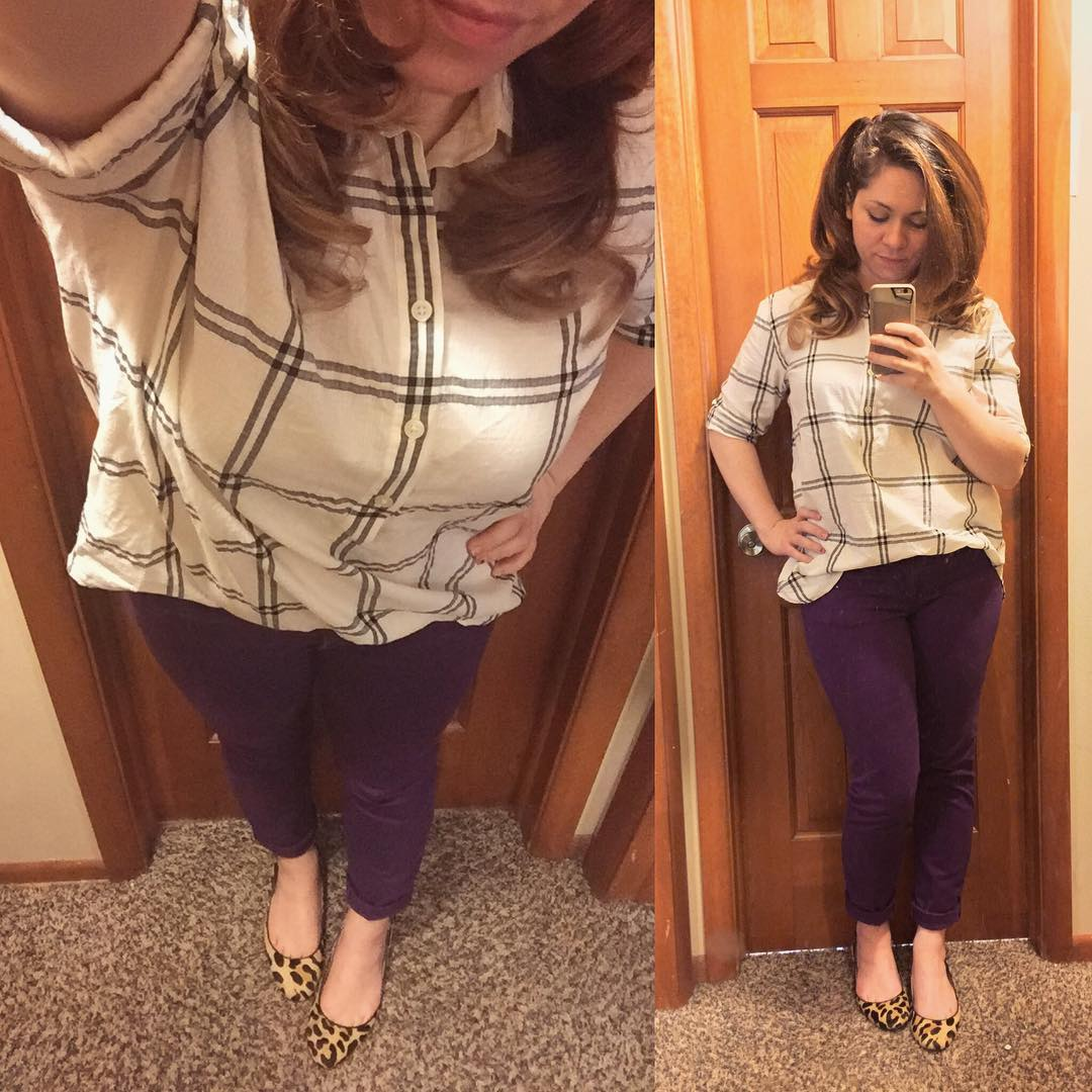 Fall Style: Casual Window Pane Henley + Plum Skinnies