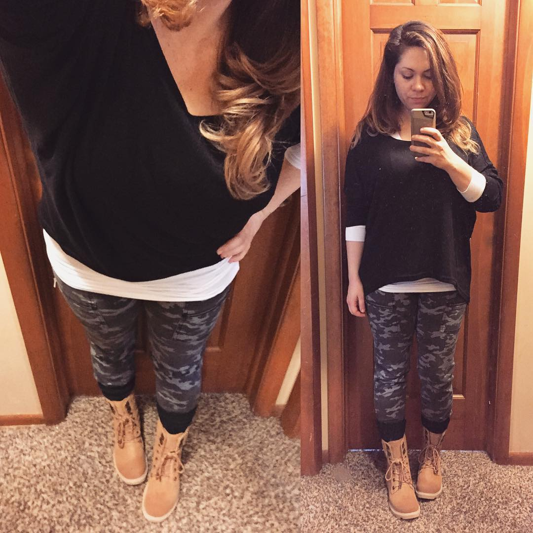 Fall Style: Camo Outfit #2 + Combat Boots + Slouchy Black Sweater