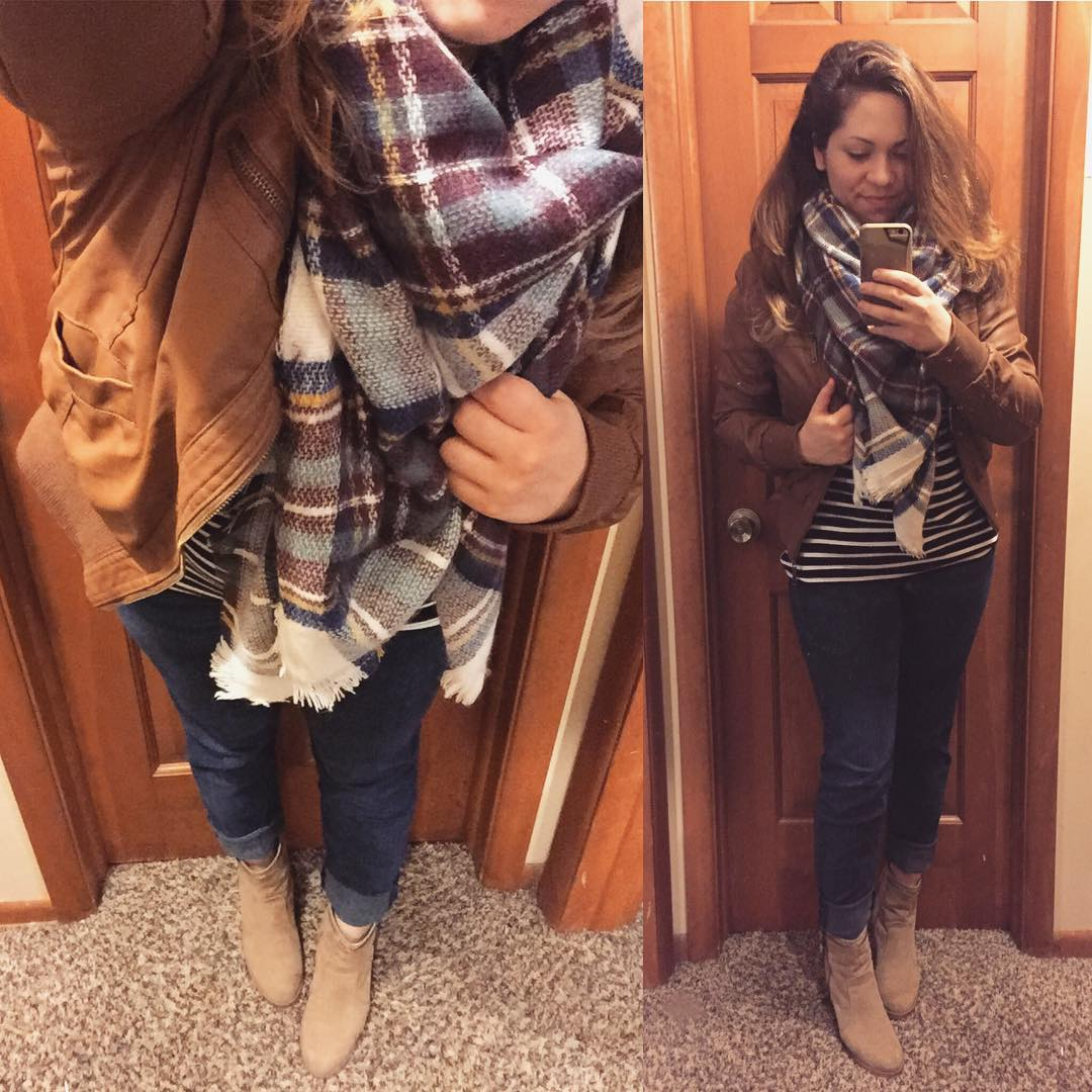 Fall Style: Stripes + Skinnies + Plaid Blanket Scarf