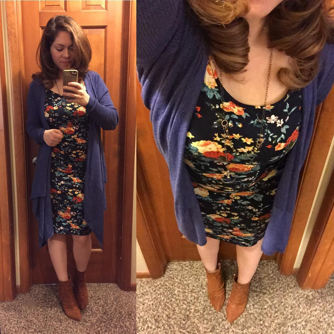 Fall Style: Navy Floral Midi Dress + Open Sweater + Chinese Laundry Booties