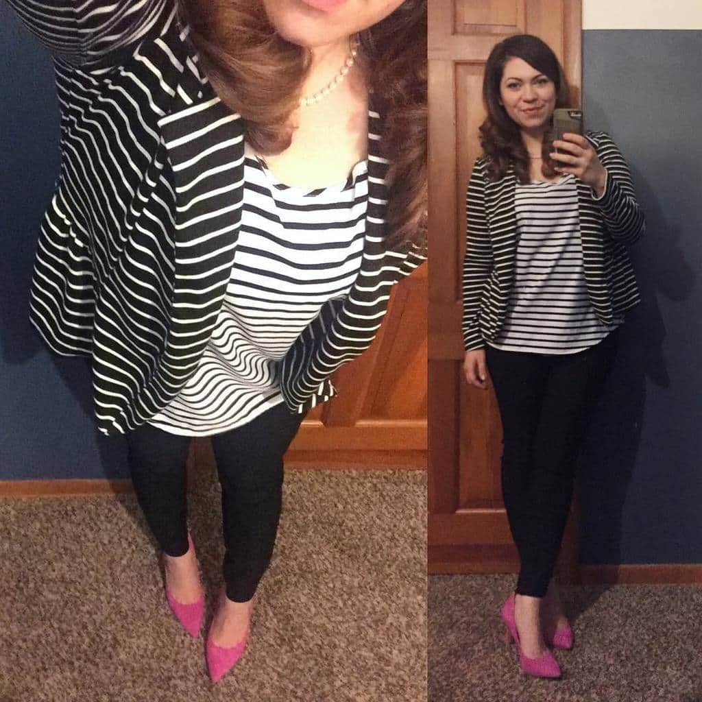 Work Style: Striped Blazer and Top with Sam Edelman Hazel Pumps in Hot Pink Suede