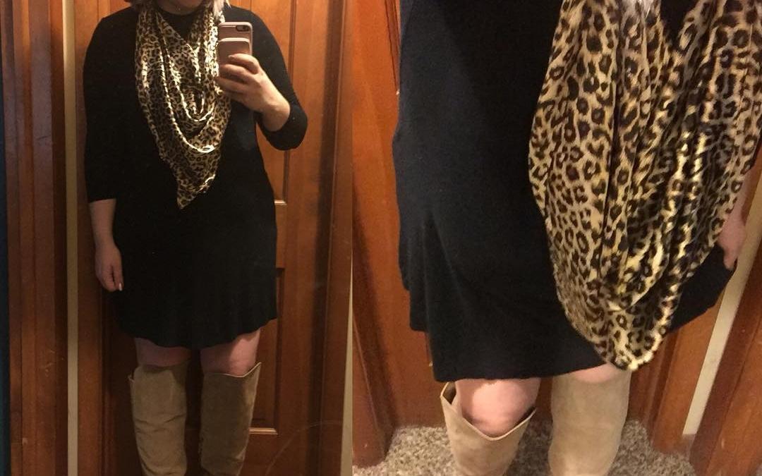 Fall Style: Plain Black Dress, OTK Boots + Animal Print Scarf