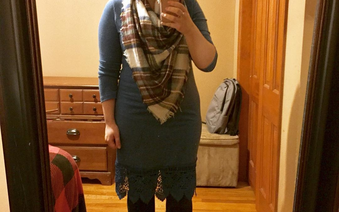 Winter Style: Lace-Hem Dress + A Plaid Half-Blanket Scarf