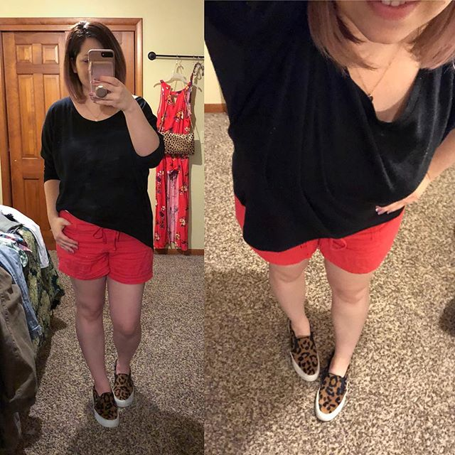 Casual Style: Slouchy Pullover, Hot Pinks Shorts, Leopard Print Shoes