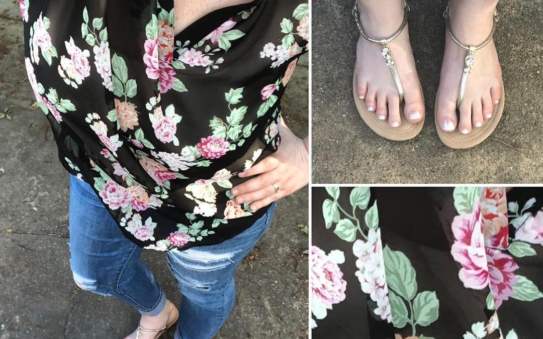 Dark Floral Top + Skinnies + Sandals